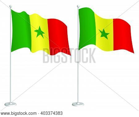 Flag Of Republic Of Senegal On Flagpole Waving In Wind. Holiday Design Element. Checkpoint For Map S