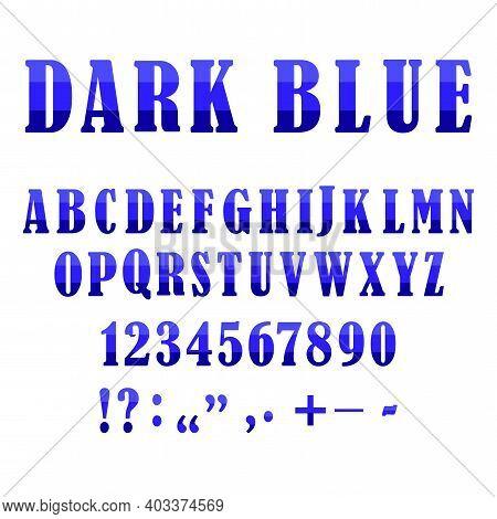 Blue Alphabet Signs. Creative Vector Font. Modern Origami Alphabet. Symbol, Logo Illustration. Stock