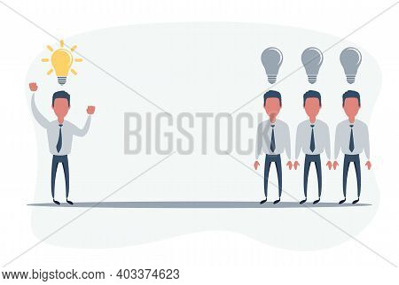 Business Challenge. Man With An Idea. Rivalry Concept. Vector Illustration