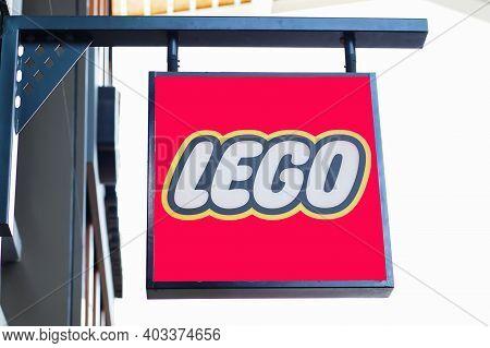 Samut Prakan, Thailand - November 02, 2020: Sign Of Lego Store In Central Village Shopping Mall. Leg