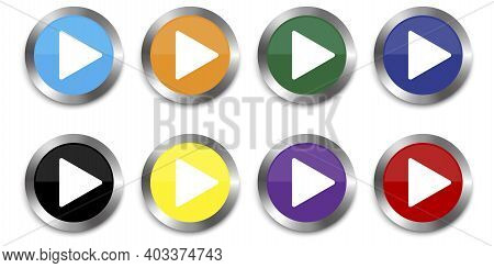 Play Button Icon Vector Illustration. Flat Play Set Buttons Colored For Game Design. Stock Image. Ep