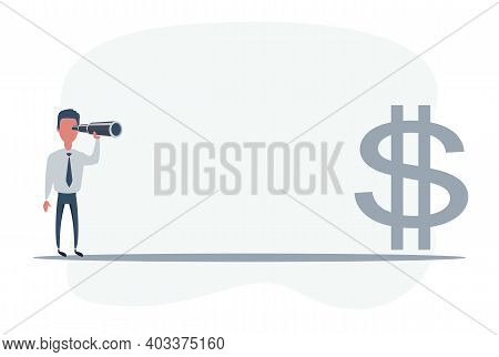 Businessman Looking For Big Money. Man Using Telescope Looking For Success, Opportunities, Future Bu
