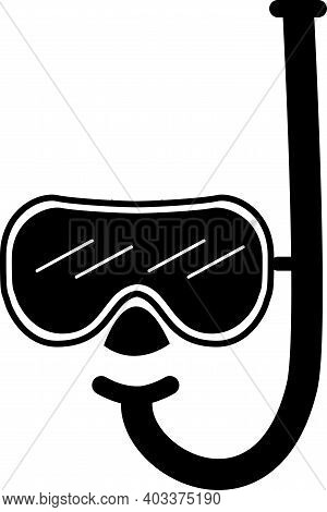 Diving Mask And Snorkel Icon On White Background. Mask And Tube For Diving Sign. Underwater Sport Co