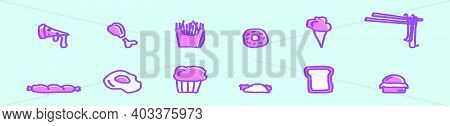 Set Of Food And Appetizers Cartoon Icon Design Template With Various Models. Modern Vector Illustrat