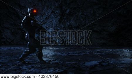 Alien, Monster With Gun In Light Portal. 3d Rendering.