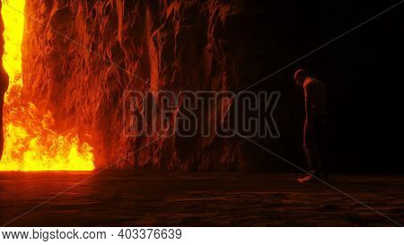 Sinner. A Lonely Sinfull Man Stands In Front Of A Hell Gates. Hell Fire. Religious Concept. 3d Rende
