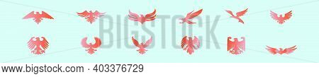 Set Of Eagle Seal Cartoon Icon Design Template With Various Models. Modern Vector Illustration Isola