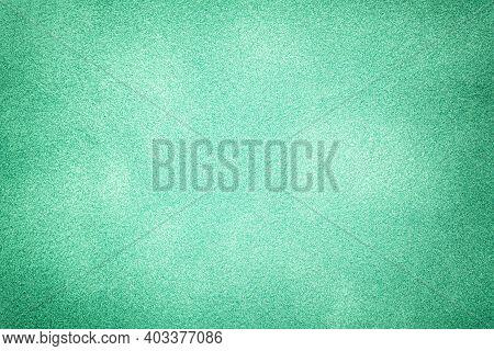 Dark Green Matte Background Of Suede Fabric With Vignette, Closeup. Velvet Texture Of Seamless Cyan