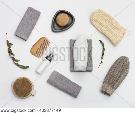 Flat Lay Pattern With Bath Accessories, Cotton Towel, White Bottle Mosk Up For Gel Or Shampoo, Soap,