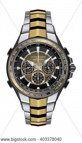 Realistic Watch Clock Chronograph Silver Gold Black Steel Design Fashion For Men Luxury Elegance On