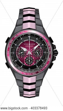 Realistic Watch Clock Chronograph Pink Black Steel Design Fashion For Men Luxury Elegance On White B