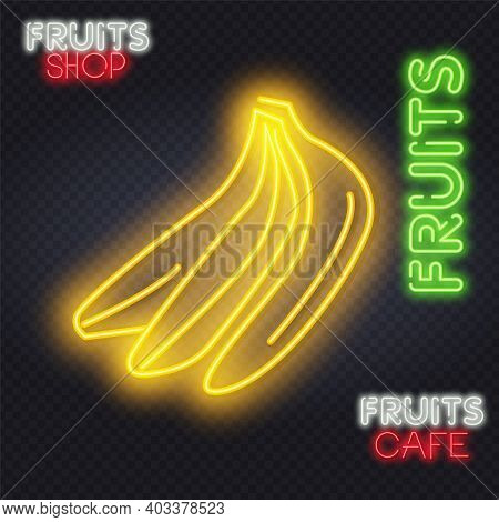 Night Club Road Sing. City Sign Neon. Logo, Emblem. Banana Neon Sign, Bright Signboard, Light Banner