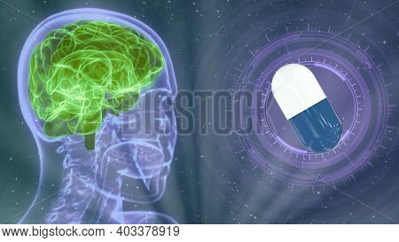 Medical 3d Illustration - Holographic Human Head Image With Highlighted Brain And Medical Pill