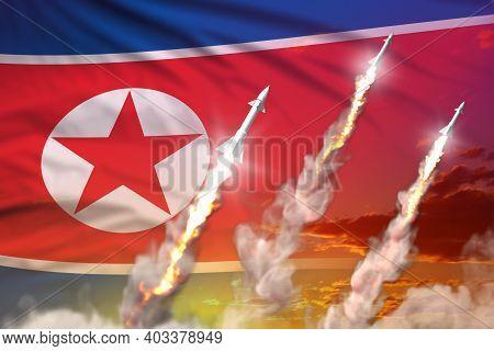 Modern Strategic Rocket Forces Concept On Sunset Background, North Korea Ballistic Warhead Attack -