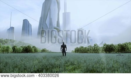 Military Space Soldiers Of The Future On A Green Meadow Against The Backdrop Of A Futuristic City. 3