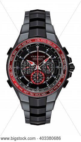 Realistic Red Black Steel Watch Clock Chronograph Design Fashion For Men Luxury Elegance On White Ba