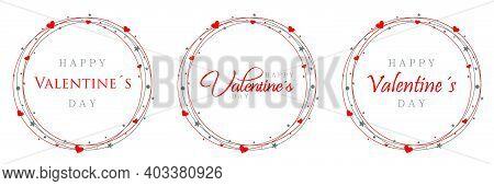 Pack Trio Logo Happy Valentines Day, Orbits Of Hearts And Stars In Red And Gray