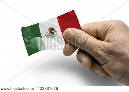 Hand Holding A Card With A National Flag The Mexico