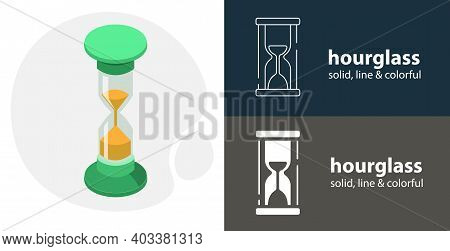 Hourglass Isolated Vector Flat Icon With Sandglass Solid, Line Icons