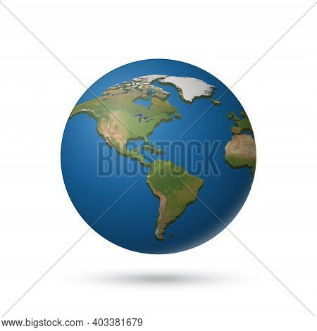 Earth Planet Relief Globe Isolated In White For Your Design