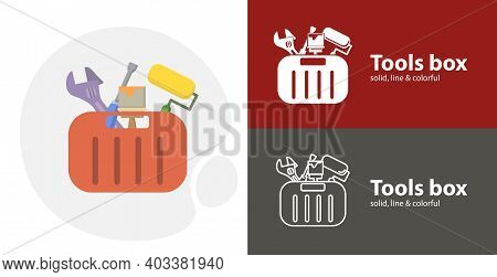 Toolbox With Tools Isolated Tool Flat Icon With Toolbox Solid, Line Icons