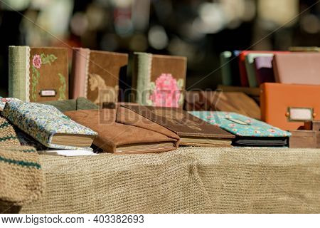 Dnepr, Ukraine- September 12, 2020: Outdoor Souvenir Shop With Handmade Stylish Diary Planners For G