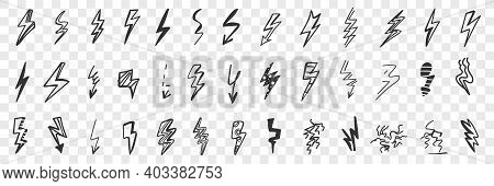 Various Arrows And Danger Indicators Doodle Set. Collection Of Hand Drawn Arrows Signs Indicating Cu