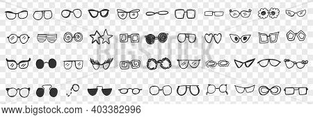 Various Stylish Sunglasses Doodle Set. Collection Of Hand Drawn Stylish Sunglasses Personal Accessor