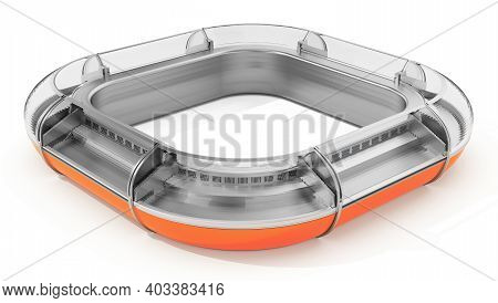 Square Shaped Industrial Supermarket Refrigerator Counter. 3d Illustration.
