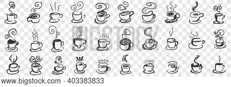 Hot Drinks In Cups Doodle Set. Collection Of Hand Drawn Hot Tea, Coffee, Cocoa In Mugs And Cups For