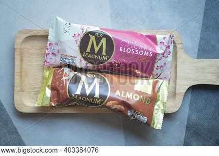 Samut Prakan, Thailand - January 15, 2021 : A Photo Of Magnum Ice Cream In Cherry Blossoms Flavor An