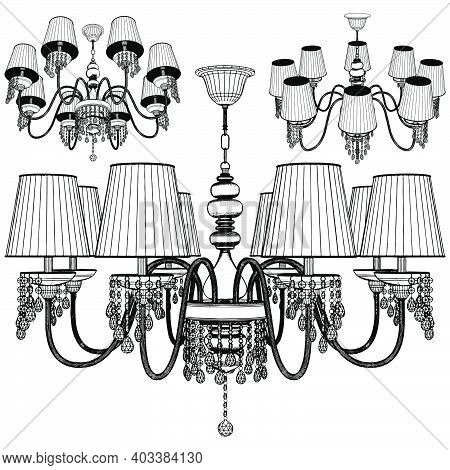 Luster Chandelier Vector. Illustration Isolated On White Background. A Vector Illustration Of A Chan