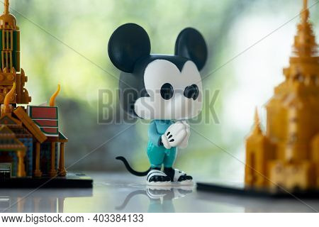 Bangkok, Thailand - January 15, 2021 : Figure Model Of Funko Pop! Mickey Mouse Thailand's National C