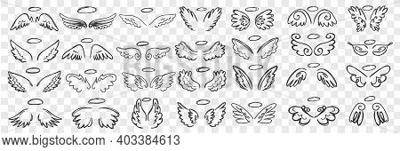 Angels Wings And Halo Doodle Set. Collection Of Hand Drawn Wings And Halos Of Angels Accessories Of
