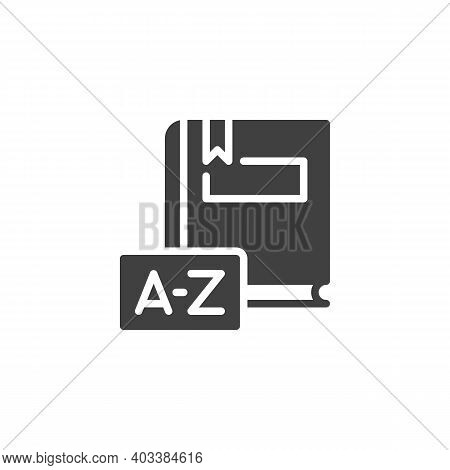Dictionary Book Vector Icon. Filled Flat Sign For Mobile Concept And Web Design. Dictionary Book Gly