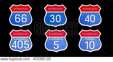 Set Of Different Us Road Signs Isolated On Black Background. Interstate 5, 10, 30, 40, 66, 405 Red B