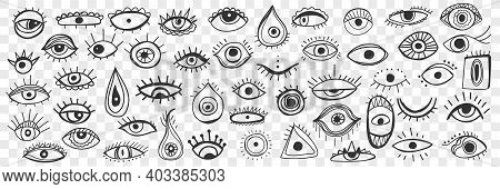 Spiritual Occult Eye Doodle Set. Collection Of Hand Drawn Various Eyes As Cultural Religious And Spi