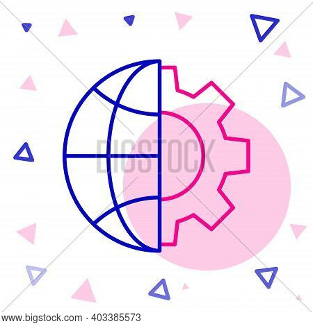 Line Globe Of The Earth And Gear Or Cog Icon Isolated On White Background. Setting Parameters. Globa