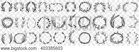 Floral Decorative Wreath Doodle Set. Collection Of Hand Drawn Wreath Of Different Leaves And Flowers