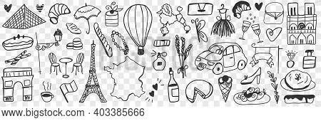 Various French Symbols Doodle Set. Collection Of Hand Drawn Eclairs Biscuits Cheese Champagne, Cars,