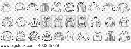 Various Warm Knitted Sweaters Doodle Set. Collection Of Hand Drawn Stylish Elegant Jackets Sweaters