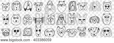 Dogs Faces Doodle Set. Collection Of Hand Drawn Funny Cute Faces Of Dogs Pets Of Different Breeds An