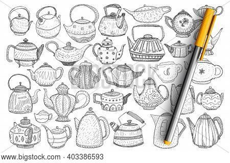 Kettles And Teapots Doodle Set. Collection Of Hand Drawn Stylish Elegant Teapots And Kettles For Bre