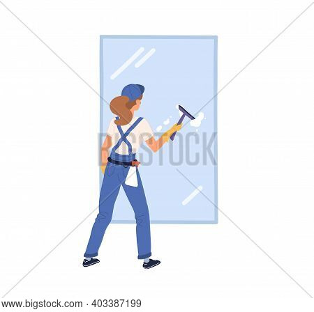 Professional Worker Of Cleaning Service Washing Window With Scrubber And Cleanser. Young Woman In Un