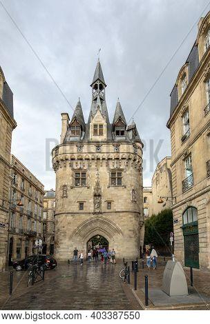 Bordeaux, France - September 9, 2018: City Gate Cailhau, Medieval Gate In Bordeaux, Gironde Departme