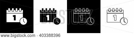 Set Calendar With First September Date Icon Isolated On Black And White Background. September 1. Dat
