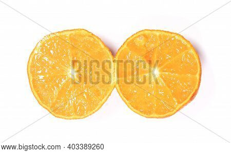 Ordinary Old And Dry Mandarin, Isolated On White