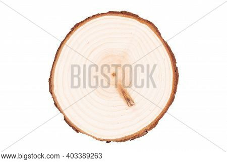 Isolated Wooden Coaster, Thin Piece Of Wood Isolated On White Background