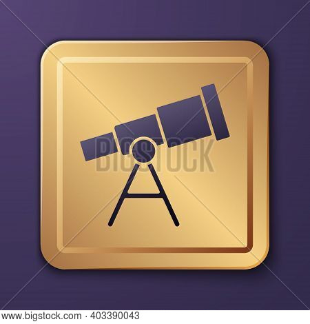 Purple Telescope Icon Isolated On Purple Background. Scientific Tool. Education And Astronomy Elemen