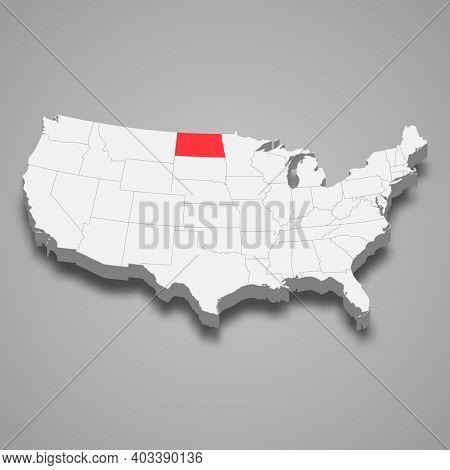 North Dakota State Location Within United States 3d Isometric Map